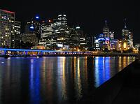 Melbourne skyline at night along Yarra River