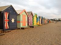 beach boxes at beach in Melbourne