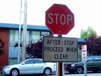 Stop sign: After stop proceed when clear