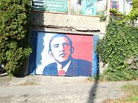 Barack Obama painted on garage