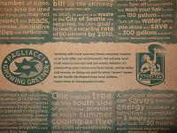 Pagliacci pizza box with environmental notes