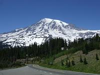 A road leading closer to Mount Rainier