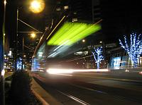 The Seattle Streetcar zooms by at night