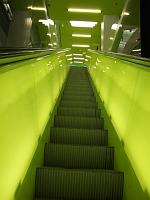 green escalator at the Seattle Public Library