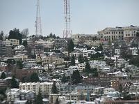 snow on Queen Anne Hill rooftops
