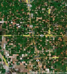 satellite image of farms along California highway 99